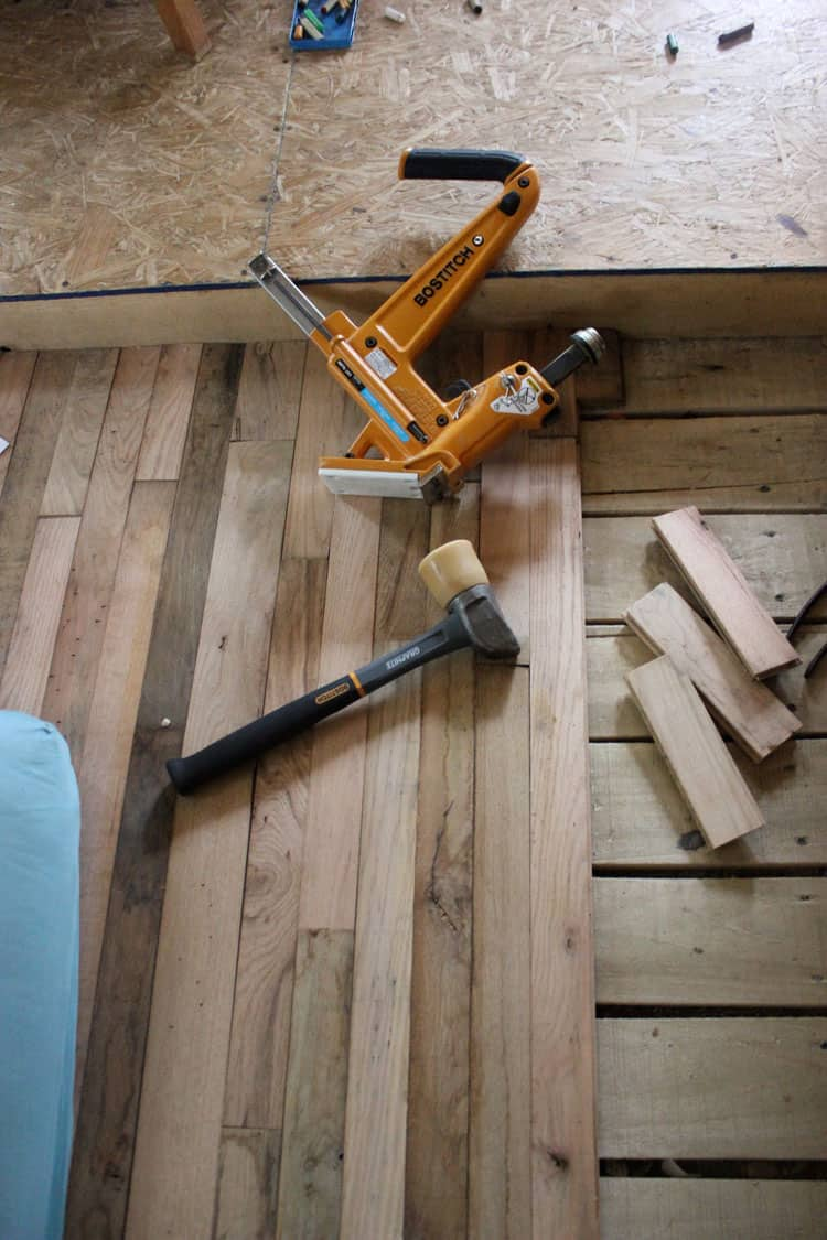 Building a Tiny House :: Installing a hardwood floor | Homestead Honey  http://homestead-honey.com
