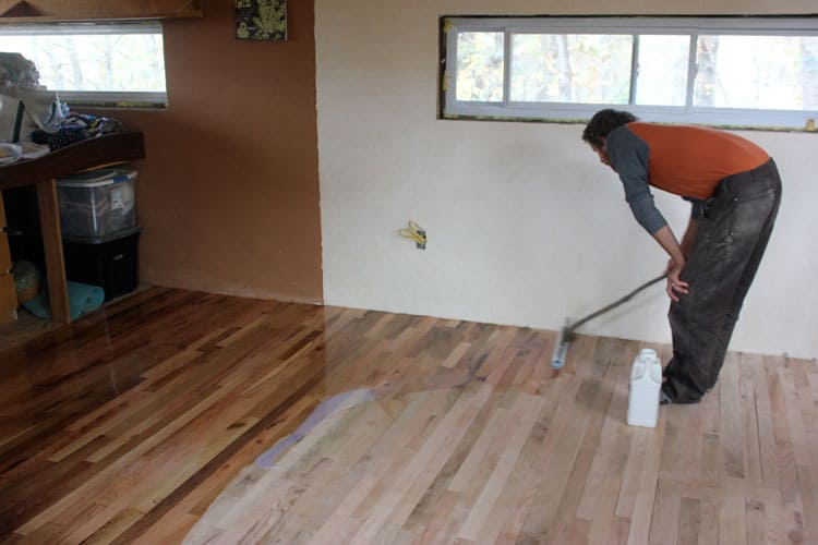 Applying a low VOC finish to the hardwood floor | Homestead Honey