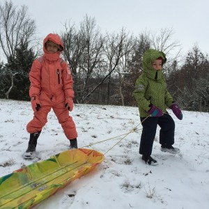 First snow day! Time to pull out the winter gear. I LOVE these snow suits from DucKsday USA.