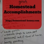 Celebrating your Homestead Accomplishments