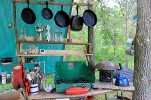 Rocket stove and propane stove in an outdoor kitchen | Homestead Honey