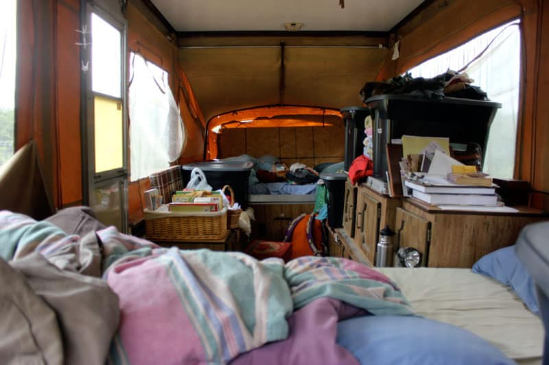 Living in a tent trailer