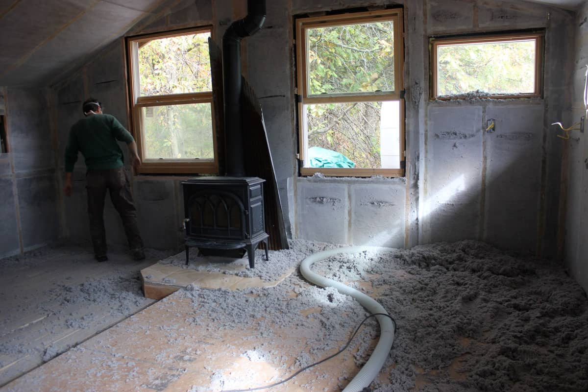 Building A Tiny House Cellulose Insulation Wiring Cordwood Cabin21