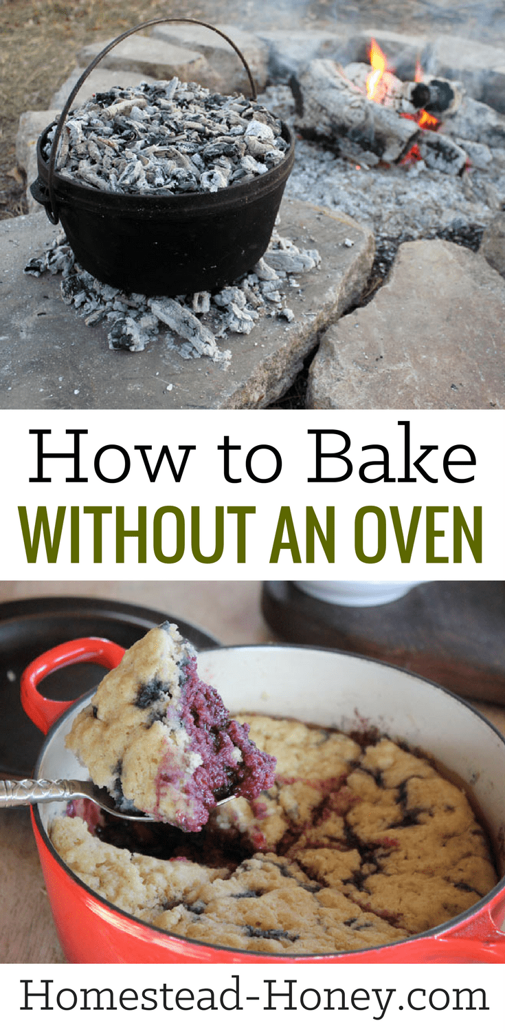 Whether you live off-grid, are camping, or just don't want to bake indoors in summer, knowing how to make easy recipes for cakes and breads without an oven is a valuable skill. Learn a few creative ways to bake without an oven, such as Stovetop Bakes and Dutch ovens! | Homestead Honey #homesteading #camping