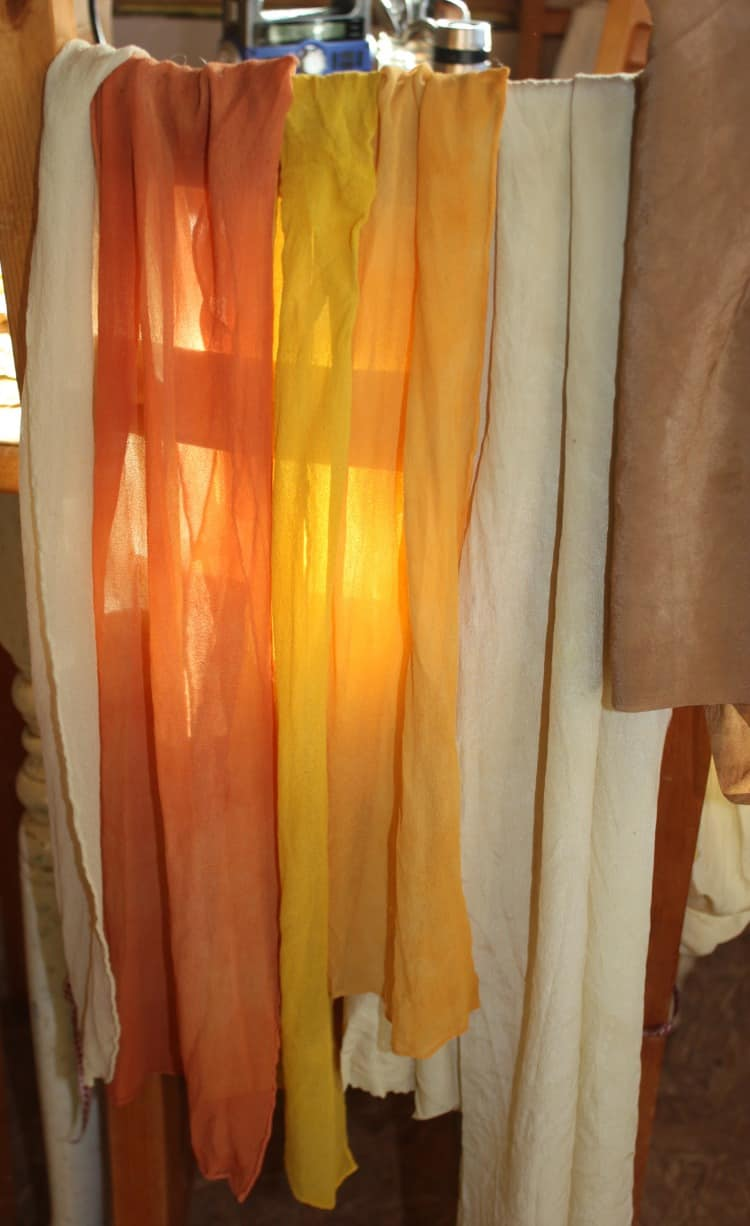 Silk chiffon dyed with comfrey, Bidens, goldenrod, wild sunflower, and black walnut | Homestead Honey https://homestead-honey.com