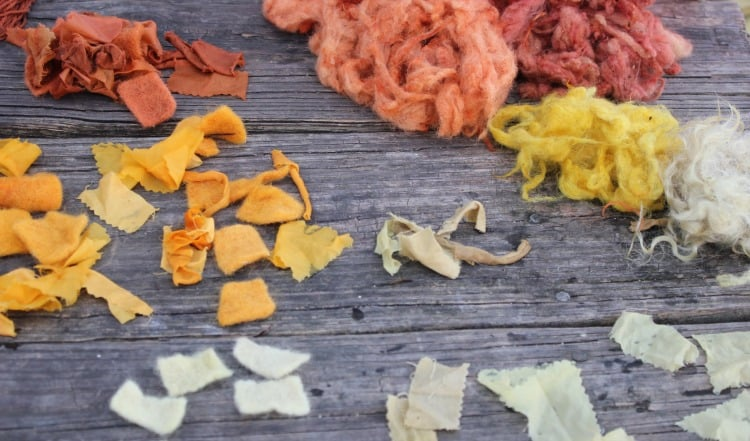 Wool, silk and cotton samples from a Natural Dyeing workshop | Homestead Honey https://homestead-honey.com