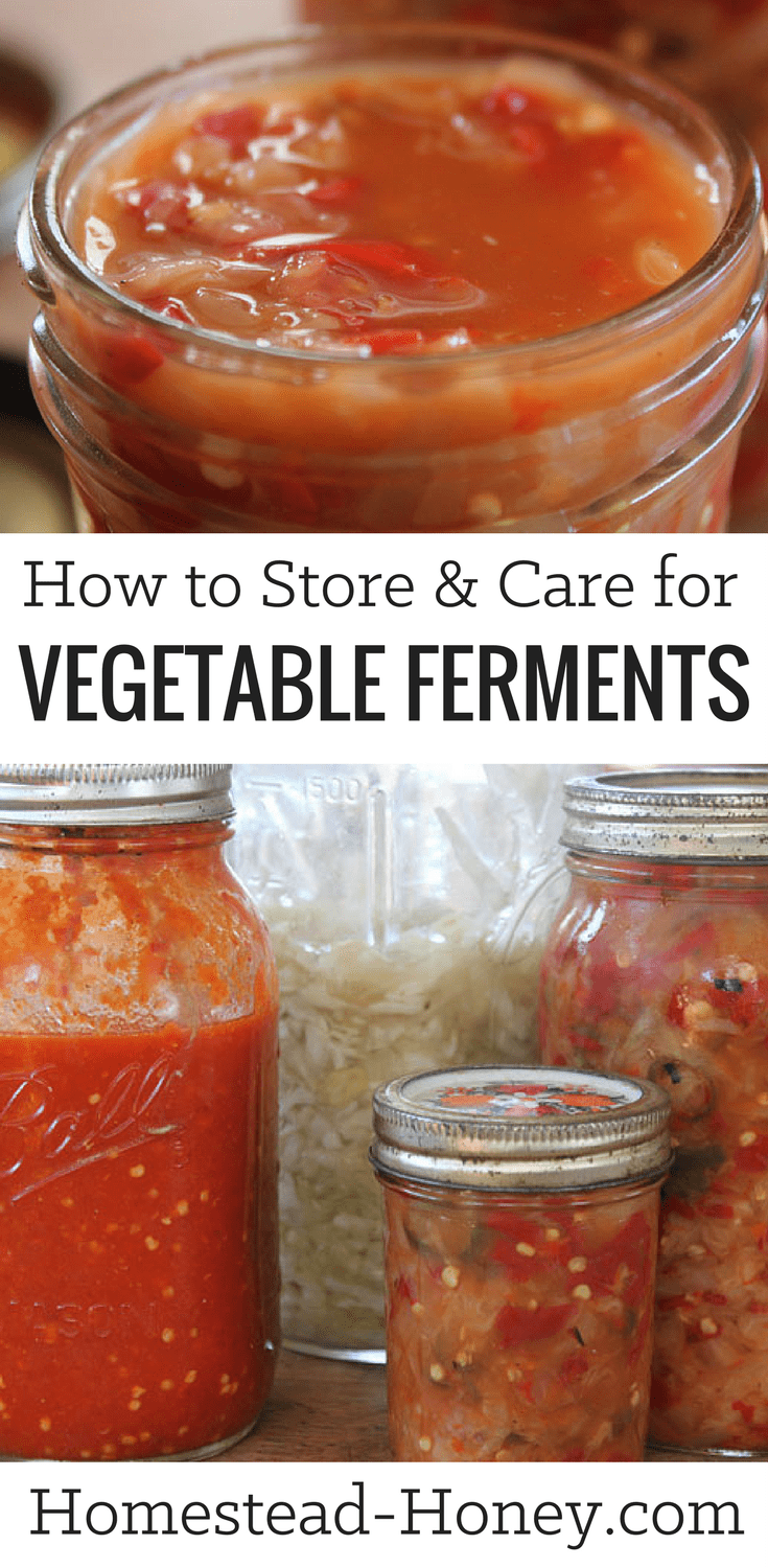 What is the best way to store and care for fermented vegetables such as sauerkraut or Kimchi? We share our top five tips for long-term storage of ferments. | Homestead Honey #fermenting, #homesteading