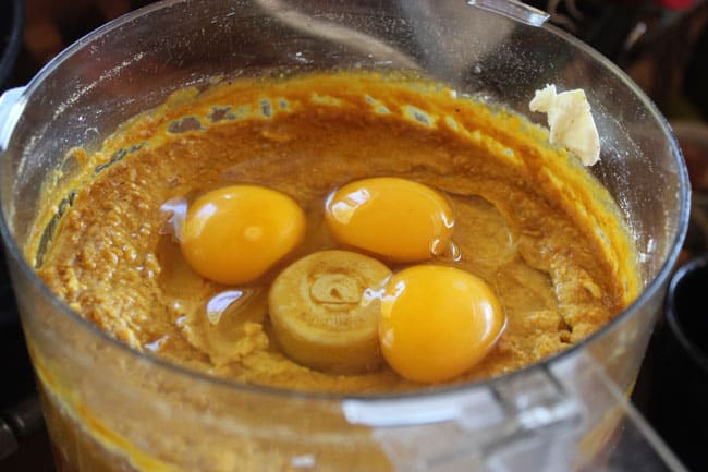 Add eggs to the filling mixture
