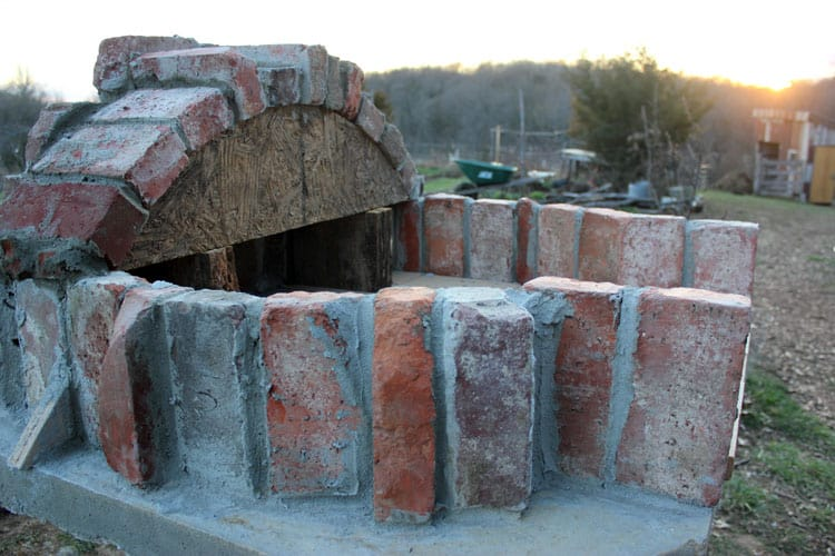 Brick pizza oven in progress