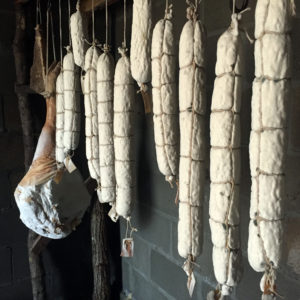 Salami curing in our homestead root cellar | Homestead Honey